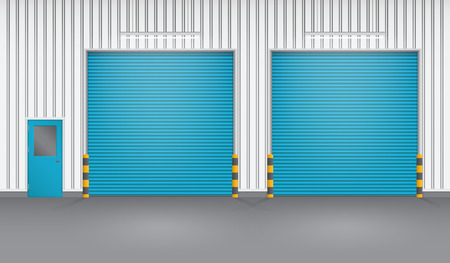 Shutter door and steel door outside factory, blue color.
