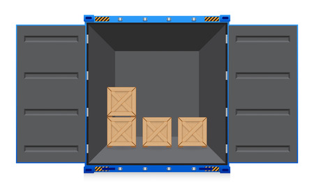 container ship: Illustration of cargo container and wood crate.