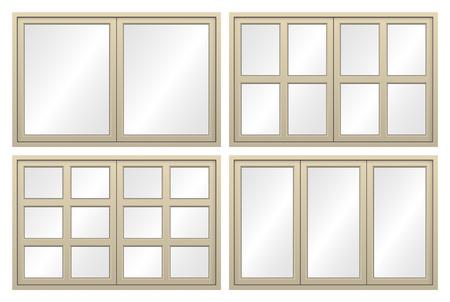 nickle: Illustration of aluminium window isolated on white background.