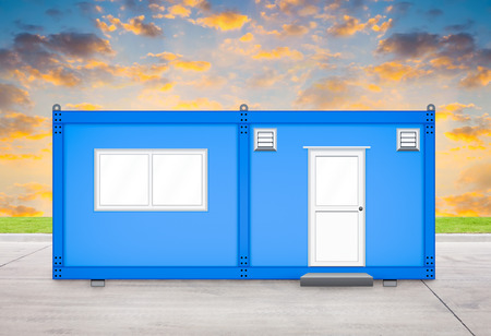prefabricated: Blue container house with sky background.