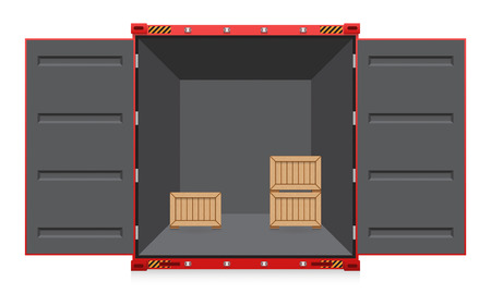 crate: Illustration of cargo container and wood crate.