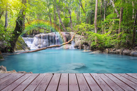 wood deck: Scenery of Waterfall with wood deck.