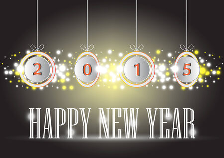 Illustration of Happy new year text on dark background. Vector