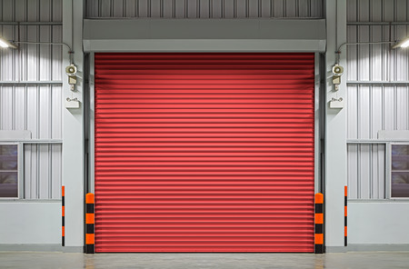 shutter door: Shutter door or rolling door, night scene.