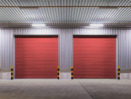shutter door: Shutter door or rolling door red color, night scene.