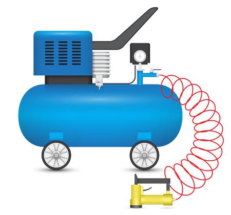 compresor: Compresor de aire y grapadora grande aislado en el fondo blanco.