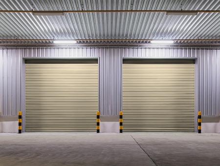 shutter: Shutter door or rolling door beige color, night scene.