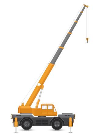 Illustration of mobile crane isolated on white background.