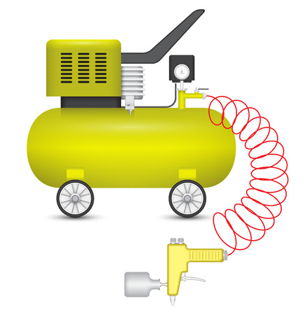 paint gun: Air compressor and big stapler isolated on white background.