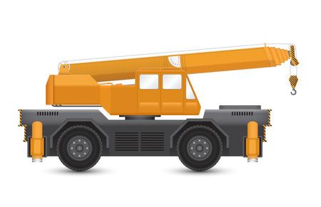 hoist: Illustration of mobile crane isolated on white background.