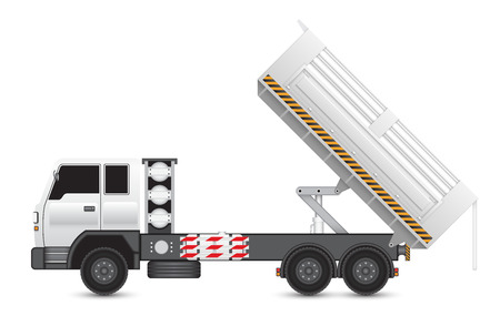 hydraulic: Illustration of tipper trucks isolated on white background. Illustration