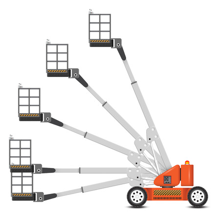 picker: Illustration of boom lift with variety of angle degree.