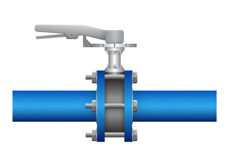 cast iron: Illustration of valve and steel pipe, blue color. Illustration