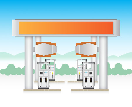 octane: Illustration of gas station service with blue sky background. Illustration