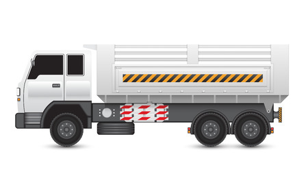 Illustration of tipper trucks isolated on white background. Vector