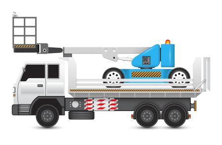 Illustration of boom lift on heavy truck. Vector