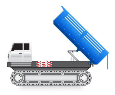 tipper: Illustration of tipper trucks with track wheel isolated on white background.