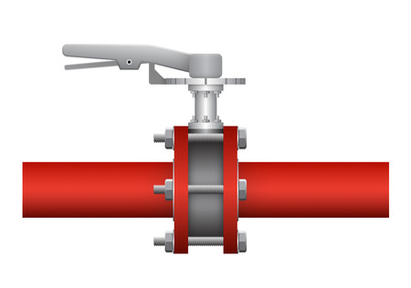 valves: Illustration of valve and steel pipe.