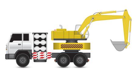 back hoe: Illustration of backhoe machine on heavy truck.