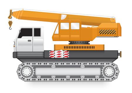 erection: Illustration of mobile crane machine on heavy truck.