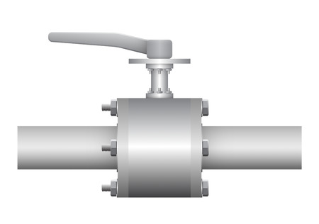 Illustration of valve and steel pipe. Vector