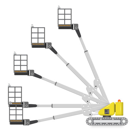 crane bucket: Illustration of boom lift with variety of angle degree.