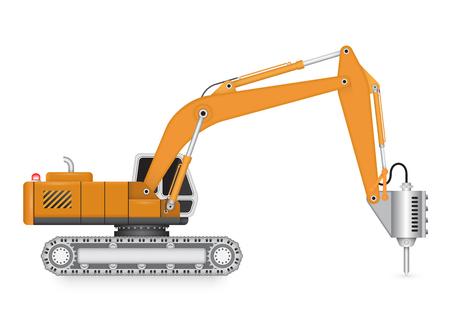 Illustrazione di macchine terne e idraulica martello.