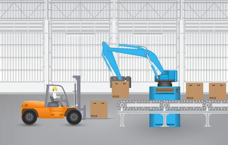 Illustratie van de robot werkzaamheden binnen de fabriek. Stock Illustratie
