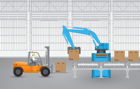 warehouse interior: Illustration of robot working inside factory.