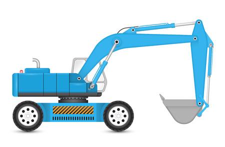 back hoe: Illustration of backhoe  with tyre wheel. Illustration