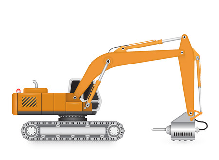 breaking wheel: Illustration of backhoe and hydraulics hammer machine.