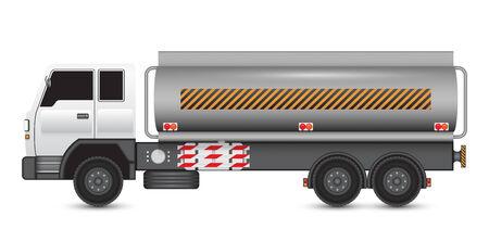 Illustratie van zware vrachtauto's en chemische tank. Vector Illustratie