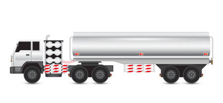 Illustration of heavy truck and chemical tank. Vector