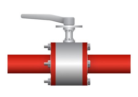 Illustration of valve and steel pipe, red color. Vector