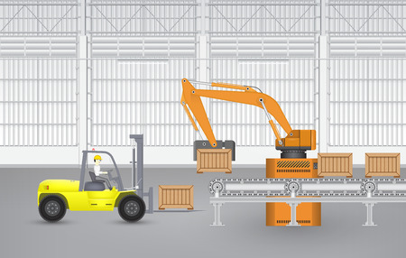 Robot working with conveyor belt  and forklift  in factory.