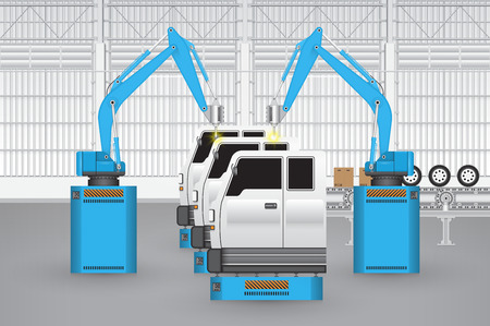 factory automation: Robots are working with auto parts in factory.