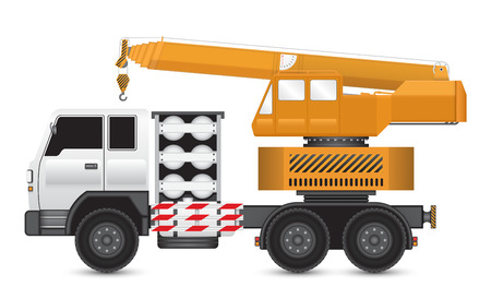 hoisting: Illustration of mobile crane on heavy truck.
