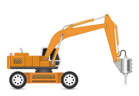 back hoe: Illustration of demolish machine isolated on white background.