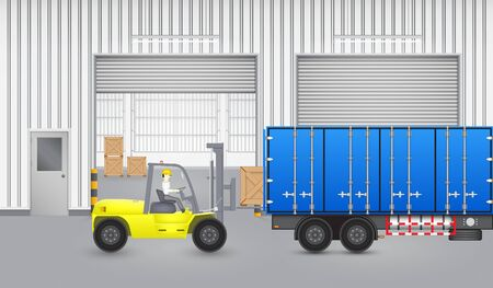 forklift: Forklift transfer wood crate into truck with factory background. Illustration