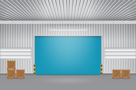 siding: Illustration of shutter door and steel door outside factory, blue color.