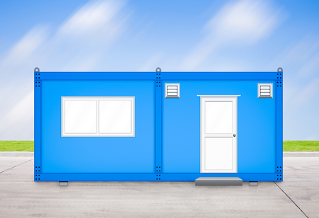 Blue container house with sky background.