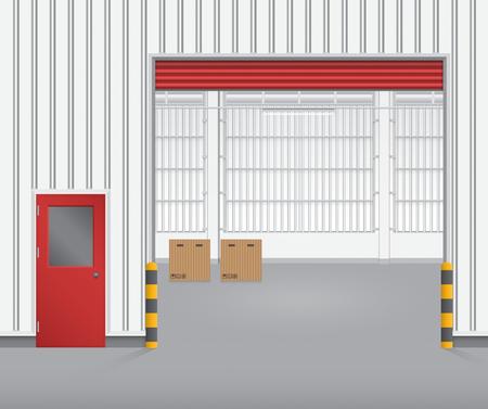 Illustration of shutter door and steel door outside factory, red color. Vector