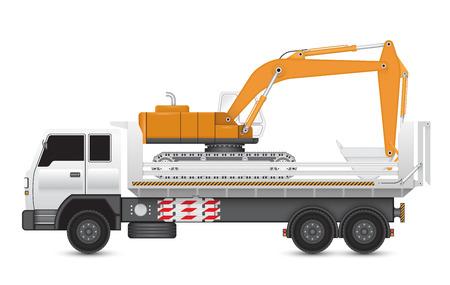 maquinaria pesada: Ilustración de la máquina retroexcavadora en camiones pesados.