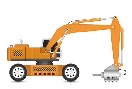 Illustration of backhoe and hydraulics hammer machine.
