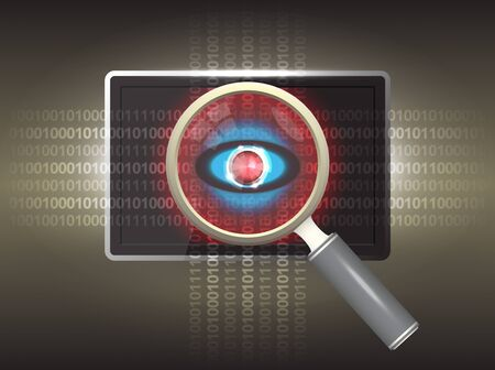 detect: Magnifier and virus data in tablet.
