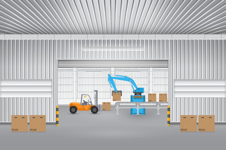 siding: Robot working with conveyor belt and forklift inside factory. Illustration