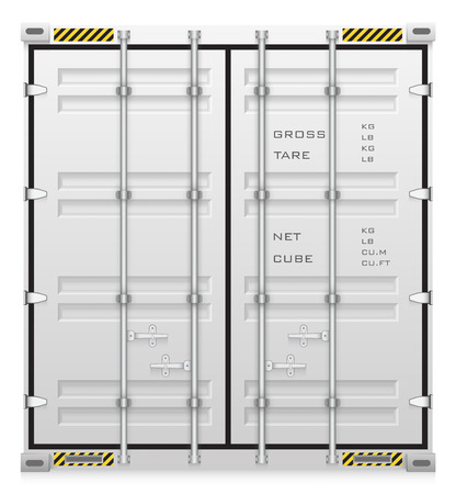 export import: Illustration of cargo container isolated on white background.