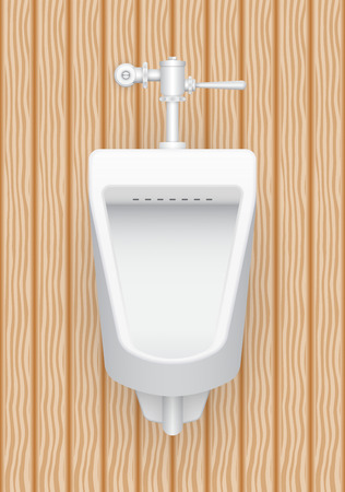 urination: Illustration of urinal with wood pattern background.
