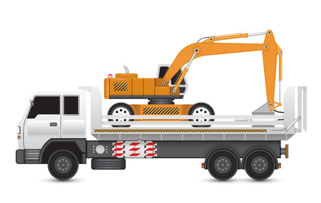 イラストは、大型トラック上のマシンを破壊します。