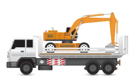 back hoe: Illustration of demolish machine on heavy truck.